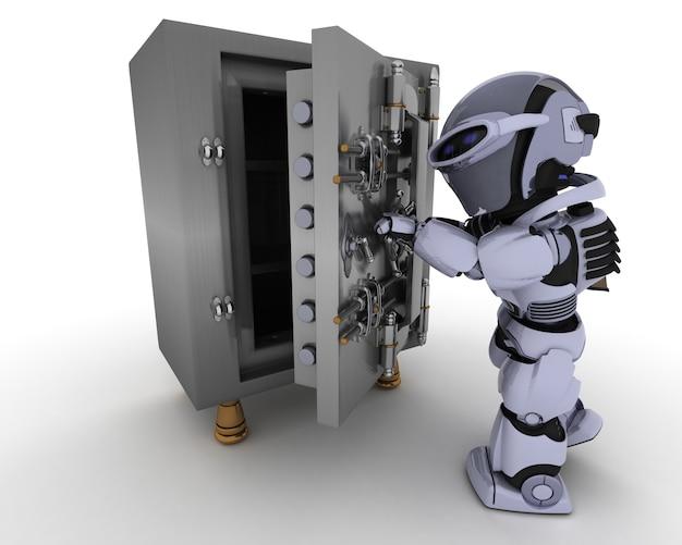 Robot con una computadora Foto gratis