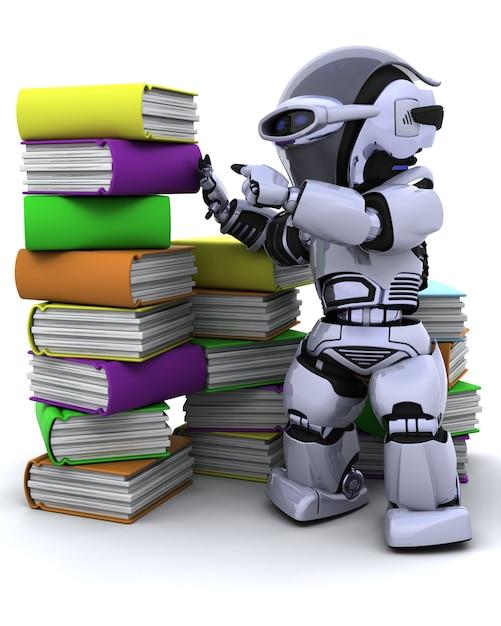 Robot con libros Foto Gratis