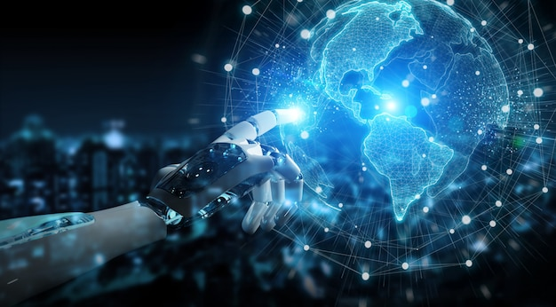 Robot inteligente cyborg con interfaz de globo digital Foto Premium