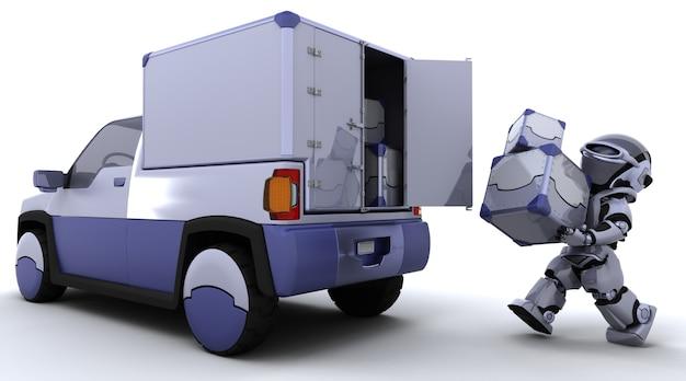 Robot llevando cajas en la parte trasera de un camión Foto gratis