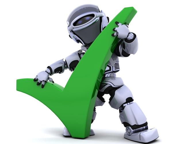 Robot con un símbolo correcto Foto gratis