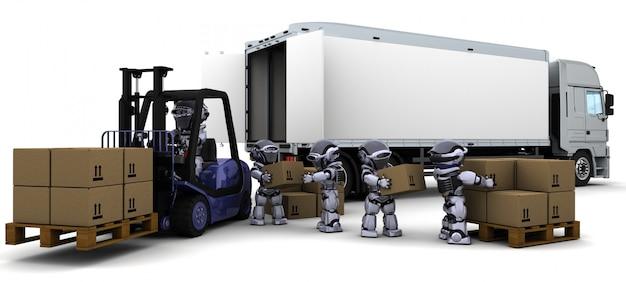 Robots con un carro de elevación Foto gratis
