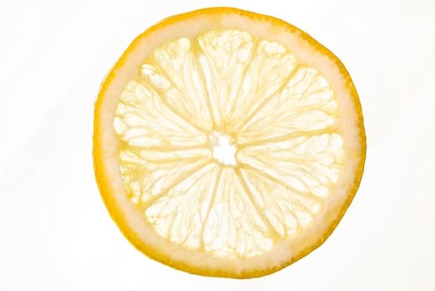 Rodaja de limón amargo sobre fondo blanco Foto gratis