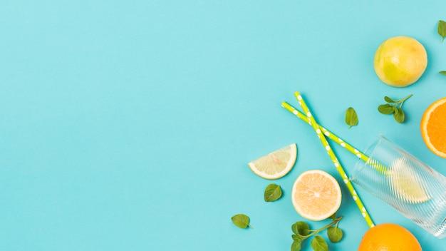 Rodajas de frutas frescas entre hierbas y vidrio. Foto gratis