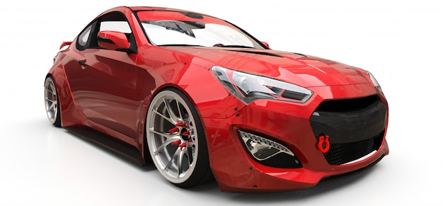 Rojo pequeño deportivo coupé. representación 3d Foto Premium