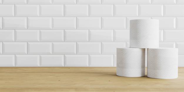 Rollos de papel higiénico sobre fondo de azulejos de madera y blanco. rollo de papel higiénico sobre una mesa, fondo Foto Premium