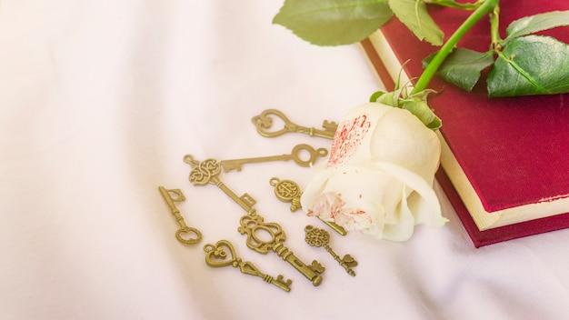 Rosa blanca pintada en libro con pequeñas llaves. Foto gratis