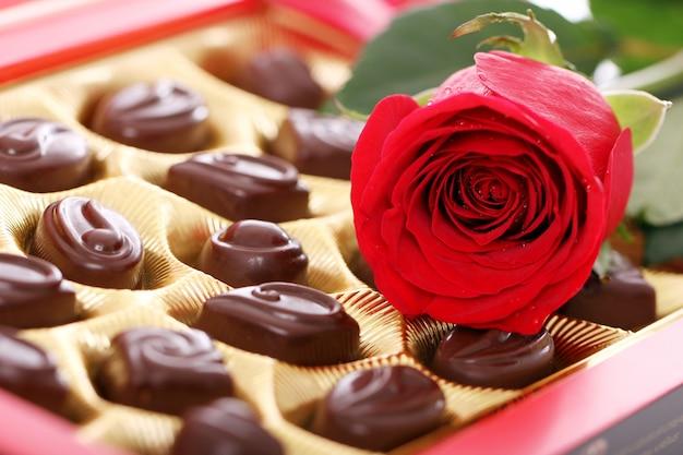 Rosa roja y dulces de chocolate Foto gratis