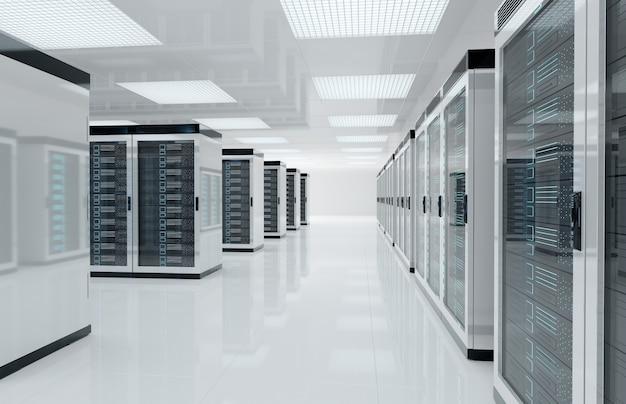 Sala blanca de servidores con computadoras y sistemas de almacenamiento representación 3d Foto Premium