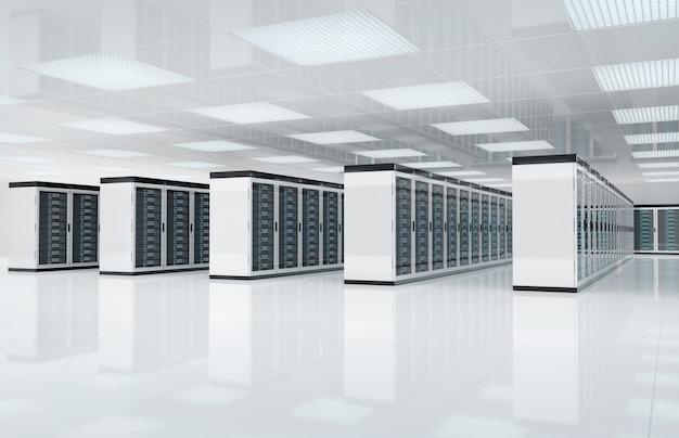 Sala blanca de servidores con computadoras y sistemas de almacenamiento Foto Premium