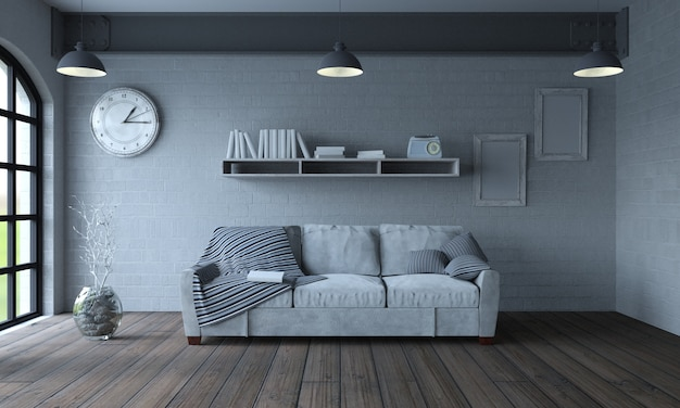 Sala de estar con un sofá Foto Gratis