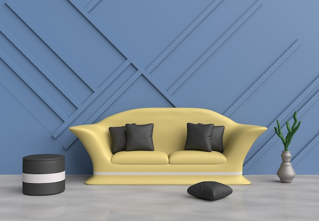 Sala De Estar Azul Son Decoración Con Sofá Amarillo