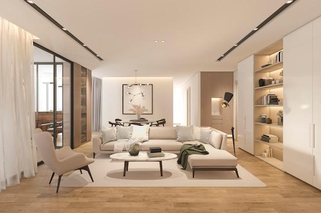 Sala de estar clásica de madera de renderizado 3d con baldosas de mármol y estantería Foto Premium