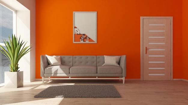 Sala de estar contemporánea 3d y muebles modernos. Foto gratis
