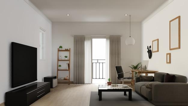 Sala de estar con póster interior con colorido sofá blanco Foto Premium