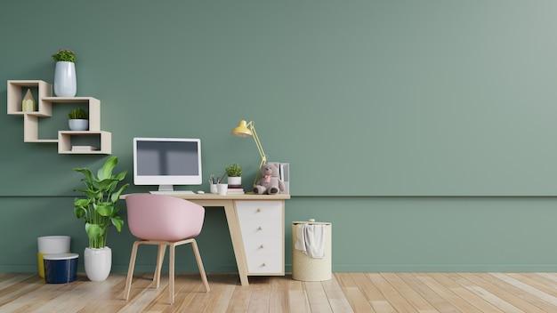 Sala de oficina con una pared vacía Foto Premium