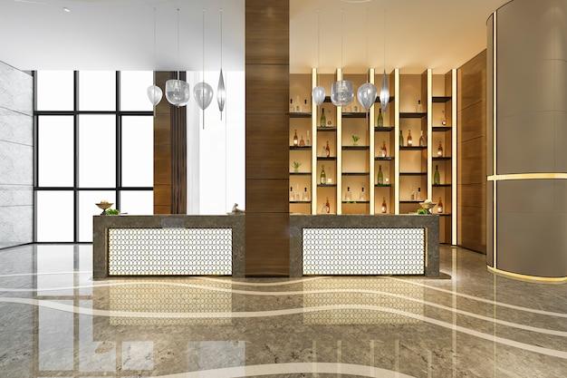Sala de recepción y oficina de hotel de lujo con estante de decoración Foto gratis