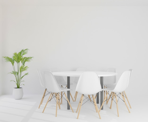 Sala de reuniones 3d con sillas Foto Premium