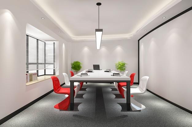 Sala de reuniones de negocios en edificio de oficinas de gran altura con decoración colorida. Foto gratis
