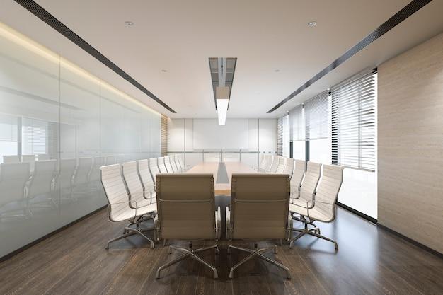 Sala de reuniones de negocios de renderizado 3d en edificio de oficinas de gran altura Foto Premium