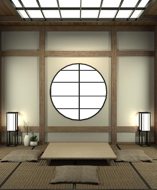 La sala de simulacros de japón con piso de tatami y decoración estilo japonés fue diseñada en estilo japonés. Foto Premium