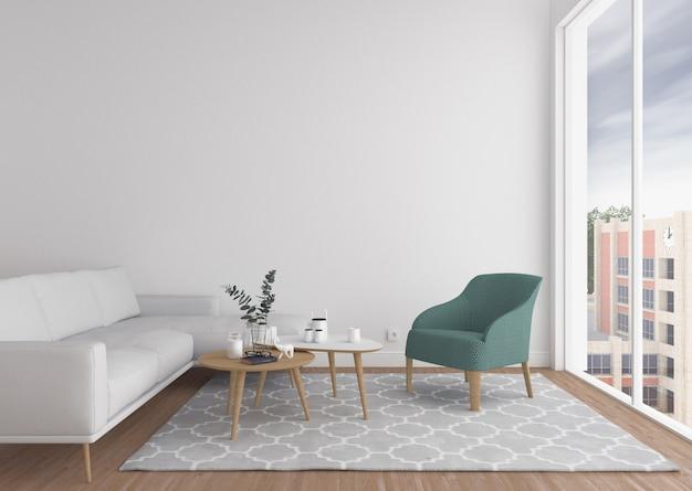 Salón escandinavo con pared en blanco. Foto Premium