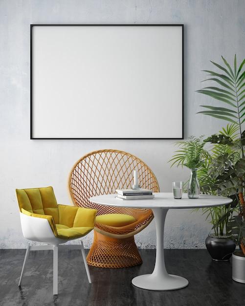 Salón interior con muebles, sofá y marco de fotos en blanco. Foto Premium