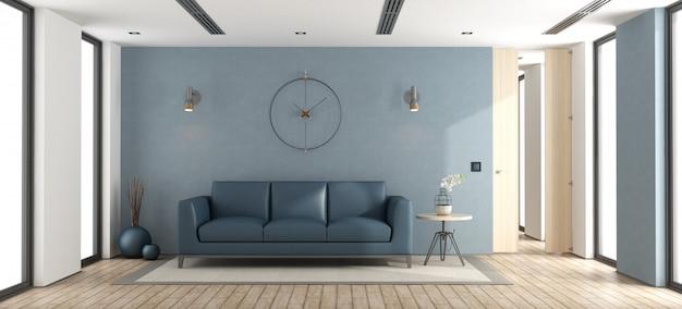 Salón moderno azul Foto Premium