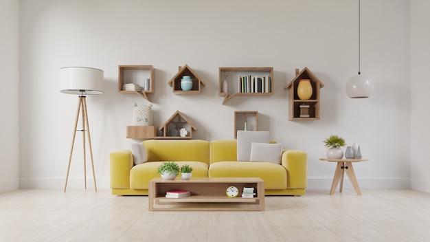 Salón con sofá de tela amarilla, sillón amarillo, lámpara y planta verde en florero. Foto Premium