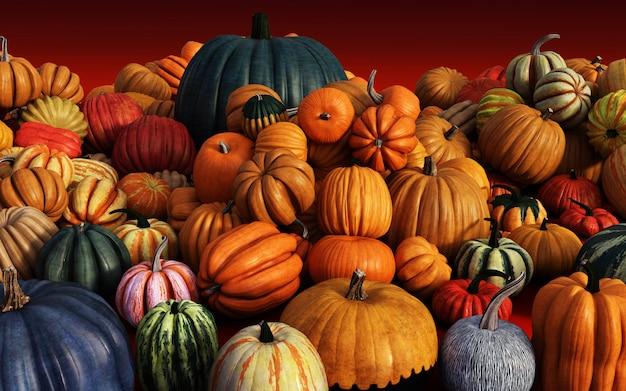 Scary jack o lantern halloween pumpkins en el mercado del agricultor Foto Premium