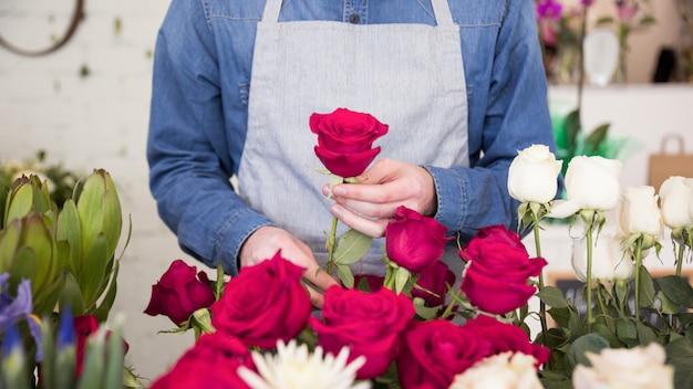 Sección media de la floristería masculina arreglando la flor rosa en el ramo Foto gratis