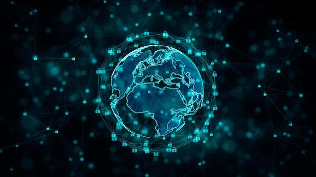 Seguridad cibernética y protección de la red de información con el icono de bloqueo. Foto Premium