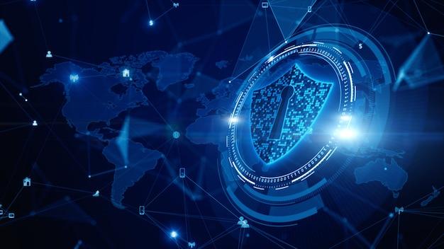 Shield icon cyber security, protección de redes de datos digitales, tecnología futura conexión de red de datos digitales Foto Premium