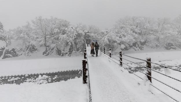 Shirakawa ir temporada de nieve japón Foto Premium