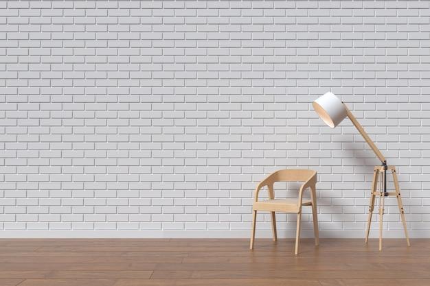 Una silla con pared de madera y lámpara Foto Premium