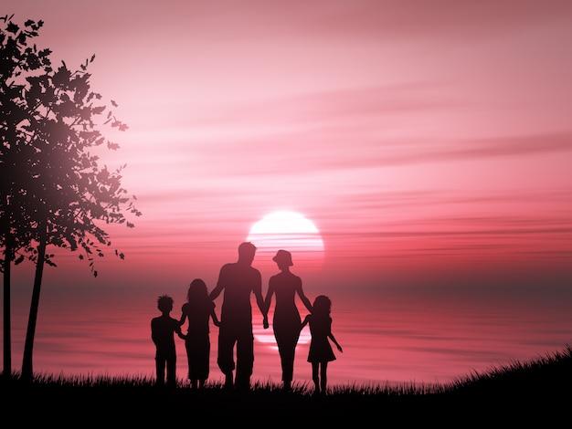 Silueta 3d de una familia contra un océano al atardecer Foto gratis