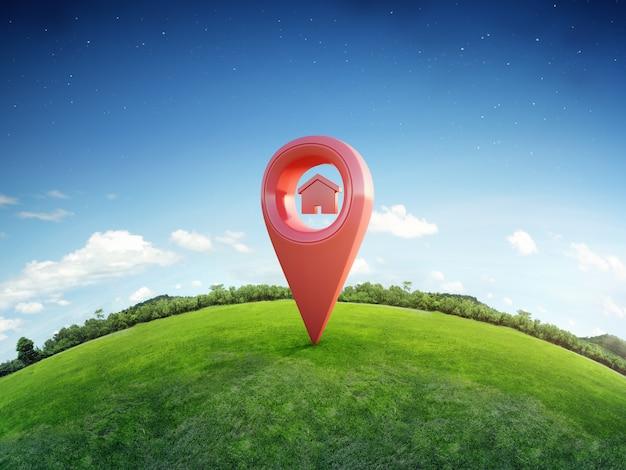 Símbolo de la casa con el icono de pin de ubicación en la tierra y la hierba verde en concepto de inversión inmobiliaria o venta de bienes raíces. Foto Premium
