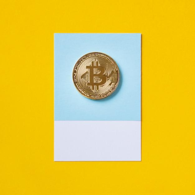 Símbolo económico de la moneda de oro bitcoin Foto gratis