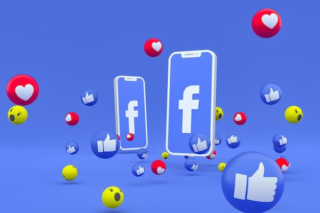 Símbolo de facebook en la pantalla del teléfono inteligente o móvil y reacciones de facebook amor, wow, como emoji 3d render Foto Premium
