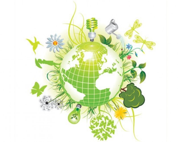 símbolos de color verde ecológico