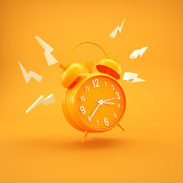 Simple amarillo reloj despertador minimalismo diseño 3d render Foto Premium