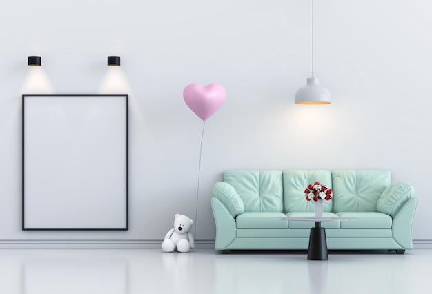 Simulacros de cartel marco interior salón y sofá, globo rosa. render 3d Foto Premium