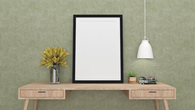Simulacros de fotograma de póster con fondo interior, render 3d Foto Premium