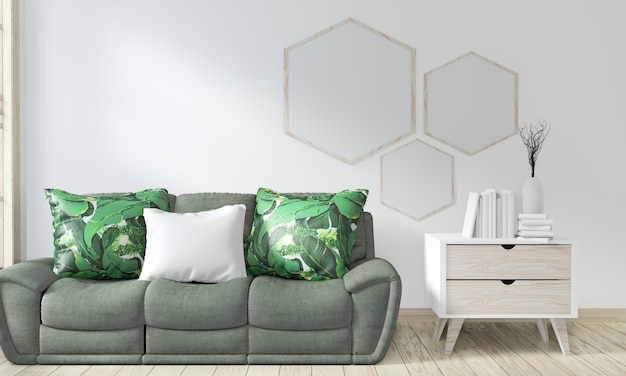 Simulacros de sala de póster con sofá verde y plantas decorativas Foto Premium