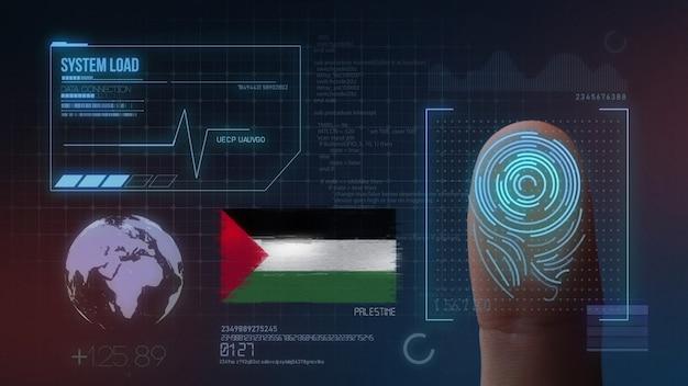 Sistema de identificación biométrica de escaneo de huellas digitales nacionalidad palestina Foto Premium