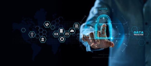 Sistema de protección de datos abstractos. Foto Premium