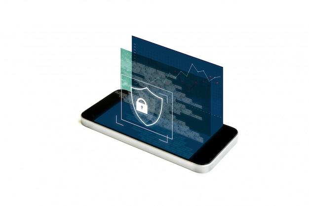 Sistema de seguridad de telefonía móvil y datos digitales. teléfono inteligente móvil con pantalla de bloqueo de seguridad de realidad aumentada Foto Premium