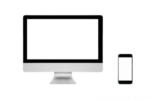 Smart pc moderna y teléfono inteligente con pantalla en blanco aislado en blanco. Foto Premium