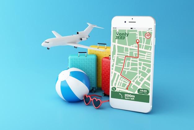 Smartphone 3d con aplicación de navegación por mapa gps con ruta planificada Foto Premium