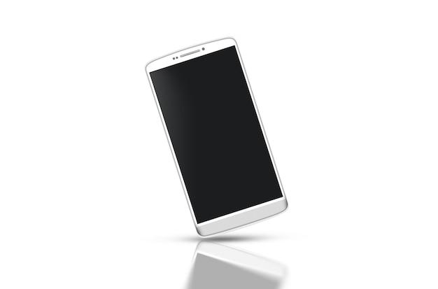 Smartphone blanco en blanco con maqueta de pantalla negra aislado Foto Premium
